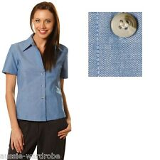 NEW LADIES WOMENS CHAMBRAY SHORT SLEEVE BUSINESS CASUAL WORK DRESS COTTON SHIRT