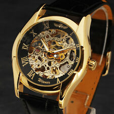 CLASSIC Round Dial New Fashion Men Watch Vintage Mechanical Watch Black Leather