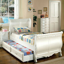 Alexandra English Style Pearl White Finish Youth Bed Frame Set With Trundle