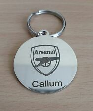 CHROME PLATED ARSENAL KEYRING PERSONLAISED LASER ENGRAVED - STUNNING GIFT