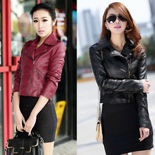 Fashion Womens Synthetic Leather Jacket Short Slim Fit Coat Motorcycle Black New