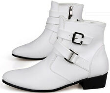 2014 Mens High Top Ankle Pointed Toe Boots Faux Leather Buckle Strap Dress Shoes