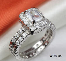 EMERALD CUT HALO CZ 925 STERLING SILVER ENGAGEMENT RING WEDDING RING SET WRS41XF
