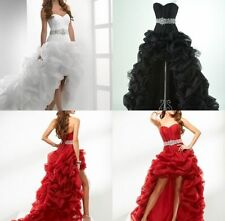 Custom White/Red/Black HOT Wedding Dress Bridal Gown Formal High Low Ball Gowns