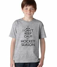 Kid's I Can't Keep Calm It's Hockey Season Funny T-Shirt Boy's Sports Fan Tee