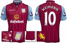 *14 / 15 - MACRON ; ASTON VILLA HOME SHIRT SS + PATCHES / WEIMANN 10 = SIZE*