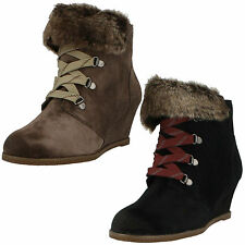 SALE LADIES CLARKS SUEDE LACE ZIP UP WEDGE HEEL WINTER ANKLE BOOTS LUMIERE SPIN