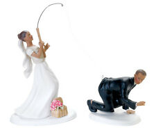 Sports Theme Wedding Gone Fishing Bride and Caught Groom Figurine Cake Toppers