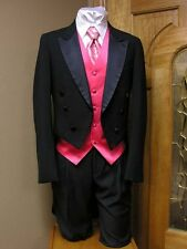 Tail Coat Black Tuxedo Peak Wool Vintage Steampunk Cosplay Costume Prom Satin