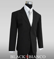 Boys Suit in Black for Kids with a Silver Long Neck Tie and extra Black Tie