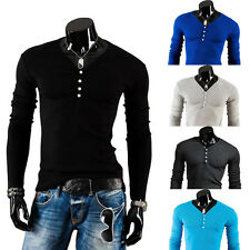 Fashion Slim New Mens T-shirts V-neck Long Sleeves Wild Casual Dress Male Style