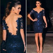 New Sexy Women Short Sleeve Prom Ball Cocktail Party Dress Formal Evening Gown