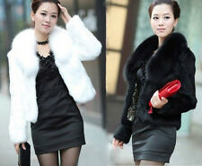 Women Winter Fashion Warm Faux Fur Long Sleeve short Jacket Coat Outwear