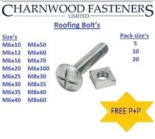Roofing Bolts (Mushroom heads) BZP,Nuts included,M6,M8