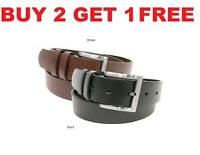 MENS Casual BLACK Brown Dress Genuine Leather BELT w/ Buckle New Free Shipping