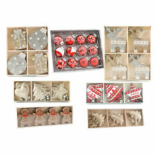 Hanging CHRISTMAS TREE DECORATIONS Packs Metal Wooden Red White Gold Silver