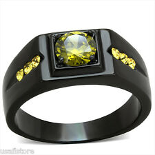 Mens 6 MM Olivine Color CZ Black Plated Stainless Steel Ring