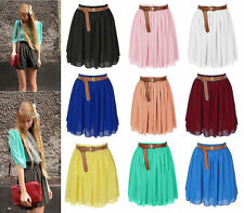 11 Colors Women Girl Chiffon Pleated Retro Elastic Waist Short Mini Dress Skirt