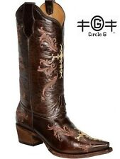 Womens Circle G Chocolate Cross Embroidered Cowboy Boots