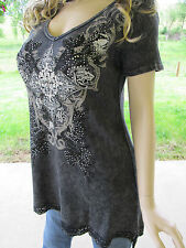 Vocal Mineral Wash Tattoo Iron Cross Crochet Hem Black Tunic Shirt Sexy  L XL