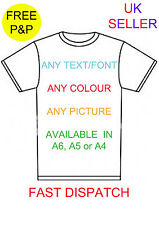 personalised iron on tshirt transfer A4 A5 A6 any picture colour text photo logo