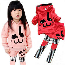 Girls Toddler Blouse Tops Pant Set Suit Clothing Clothes Autumn Long Sleeve PINK