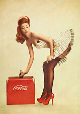 Vintage coke Pin Up Girl Poster géant-A0 A1 A2 A3 A4 Tailles