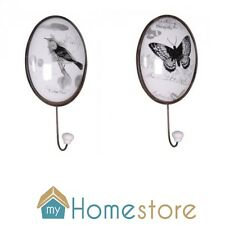 Shabby Chic Ceramic Metal Wall Hook Butterfly and Bird Designs French Style