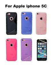 TPU S shape Soft Silicone Skin Cover Case for Apple iPhone 5C + Screen Protector