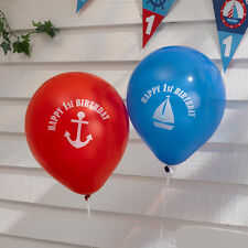 AHOY THERE, BOATS,SAILORS, 11INCH LATEX BALLOONS, PACK OF 8,1ST BIRTHDAY