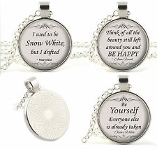Silver Quote Necklace Pendants - Poetry Music Song Lyrics Movie Religion Gifts