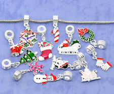 Wholesale Lots SP Enamel Christmas Charm Dangle Beads Fit Charm Bracelet