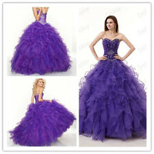 Stock Purple Sweetheart Bead Quinceanera Ball Gown Evening Party Prom Dress New