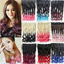 Womens Ombre Synthetic Single Piece Five Clips Long In Curly Wave Hair Extension