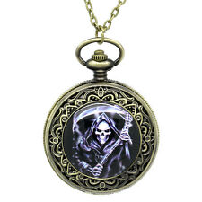 "Wholesale Lots Jewelry Pocket Watches Carved Skull Round 75.5cm(29 6/8"")"