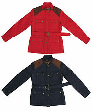 Ralph Lauren Polo Quilted Barn Jacket Belted Patched Red/Blue Multiple Sizes NWT
