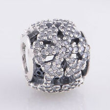 Sterling Silver 925 European Charm Shimmering Lace Snowflake Clear CZ Bead 88478