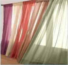 Solid Sheer voile Fully Stitched Hemmed Window Curtains Panels Drape valance