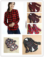 TX128 Women Button Down Lapel Casual Shirt Plaid Check Flannel Cotton Top Blouse