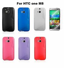 HTC One M8 Clear TPU S Shape Soft Back Silicone Rubber Case Cover  + Protector