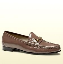 $575 New Auth 1953 GUCCI Soft Patent Leather Horsebit Loafer, Mauve, 338348 5405