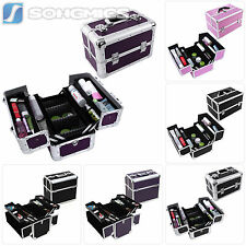 Songmics Aluminum Makeup Case Cosmetic Box Jewelry Storage Organizer with Tiers