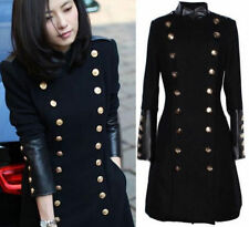 New Womens Military Trench Coat Slim Fit Casual Double Breasted Long Jacket Coat