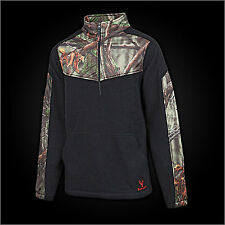 Mens Huntworth Lifesyle 2-Tone Fleece 1/4 Zip Pullover Shirt-Camo/Black (957)