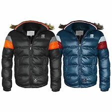 New Mens Crosshatch Bubble Padded Fur Hooded Puffer Jacket Bomber Coat Size