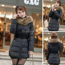 K1 Women's Winter Down Cotton Jacket Hooded Fur Collar Parka Coat Warm Outerwear