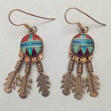 Bronze Handmade Inlay Stone Feather Sun Face Round Hook Dangle Earrings