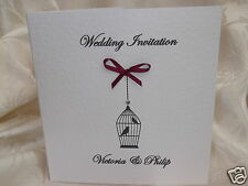 PERSONALISED BIRDCAGE DESIGN HANDMADE WEDDING INVITATIONS ANY COLOUR RIBBON