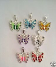 Silver Pl Enamel Rhinestone Butterfly Pendant & 925 necklace - mixed colours