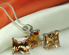 CZ CHAMPAGNE COLORED STONE STERLING SILVER925 SQUARE PENDANT&EARRING SET-~BSS-MF
